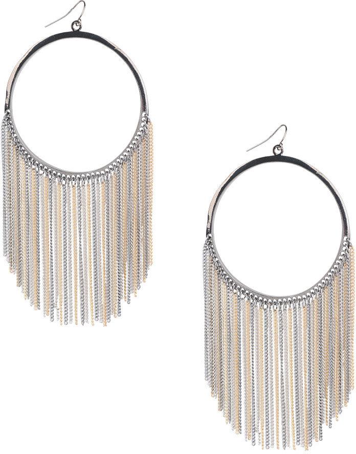 Hoop Chain Strands Earrings