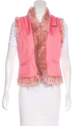 Dolce & Gabbana Faux Fur-Trimmed V-Neck Vest