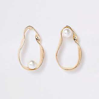 River Island Gold tone twist pearl drop earrings