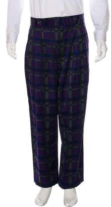 Gianni Versace Wool Pleated Plaid Pants