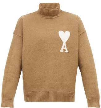 Ami De Cur Intarsia Wool Roll Neck Sweater - Mens - Beige