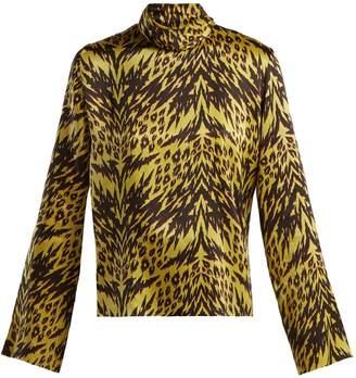 Aries Tiger-print high-neck satin top