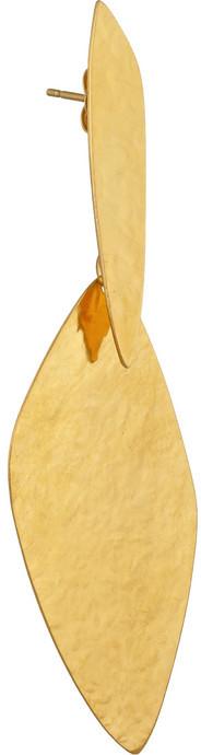 Herve Van Der Straeten Hammered gold-plated drop earrings