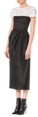 Carolina Herrera Embellished Two-Tone Sheath Dress