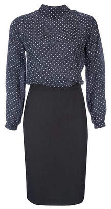 a1b19f6b37440 client Forties Style Polka Dot Silk Blouse