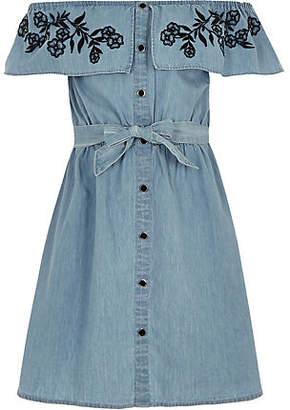 River Island Girls Blue bardot tie waist denim dress