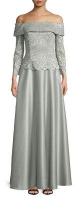 Cachet Off-the-Shoulder Lace Bodice Gown