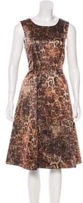Lafayette 148 Sleeveless Printed Midi Dress Brown 148 Sleeveless Printed Midi Dress