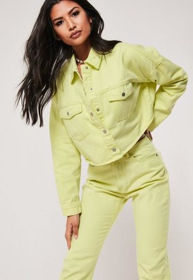 Missguided Yellow Neon Washed Wrath Co Ord Distressed Hem Denim Jeans