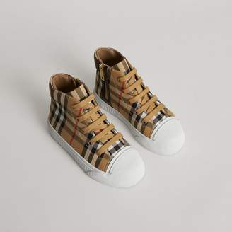 Burberry Childrens Vintage Check and Leather High-top Sneakers