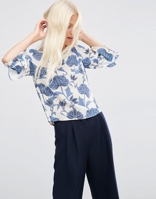 ASOS Ruffle Sleeve Tee in Blue Floral $49 thestylecure.com