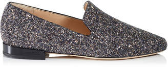 Jimmy Choo JAIDA FLAT Twilight Glitzy Glitter Fabric Square Toe Slippers