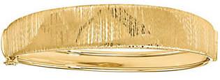 Italian Gold Vertical Textured Round Hinged Bangle 14K, 13.0g
