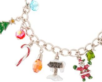Kirks Folly Ho Ho Ho Santa Silvertone Charm Bracelet