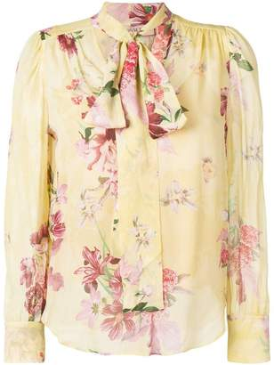 Twin-Set pussy bow floral blouse