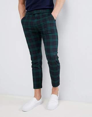 Pull&Bear Tailored Trousers In Green Check