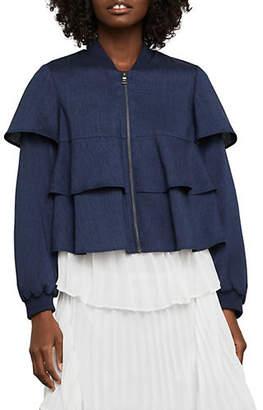 BCBGMAXAZRIA Pinstripe Tiered Ruffle Jacket