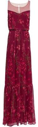 Marchesa Point D'esprit-paneled Floral-print Georgette Gown