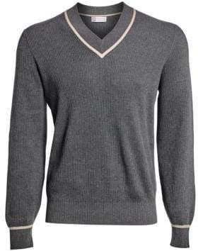 Brunello Cucinelli Varsity Rib-Knit V-Neck Sweater