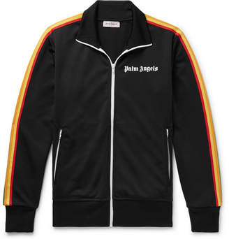 Palm Angels Slim-Fit Logo-Print Webbing-Trimmed Tech-Jersey Track Jacket