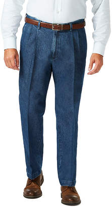 Haggar Stretch Denim Plt Mens Classic Fit Pleated Pant - Big and Tall