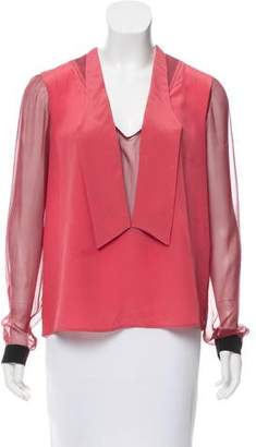 Marco De Vincenzo Long Sleeve Silk Top