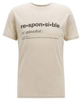 BOSS Hugo Relaxed-fit slogan T-shirt in recot2& cotton jersey XXXL Open Beige