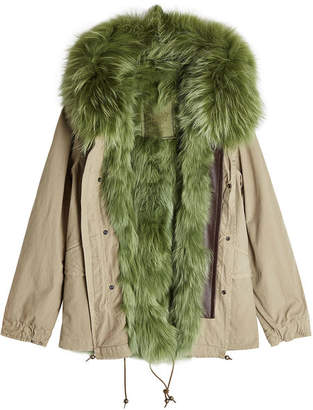 Mr & Mrs Italy Cotton Parka Jacket with Raccoon and Rabbit Fur