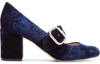 Chessie Velvet Mary Jane Pumps - Midnight blue