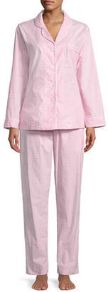 P Jamas Checks Poplin Long-Sleeve Pajama Set, White/Pink
