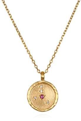 Satya Jewelry Cancer Constellation Ruby White Topaz Zodiac Necklace (18-inch)