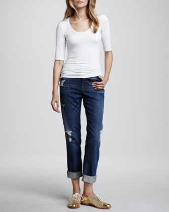 J Brand Jeans Aiden Flintlock Distressed Boyfriend Jeans
