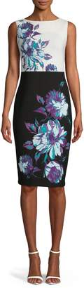 Gabby Skye Sleeveless Floral Sheath Dress