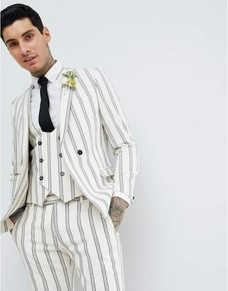 Twisted Tailor wedding super skinny suit jacket in cream stripe linen