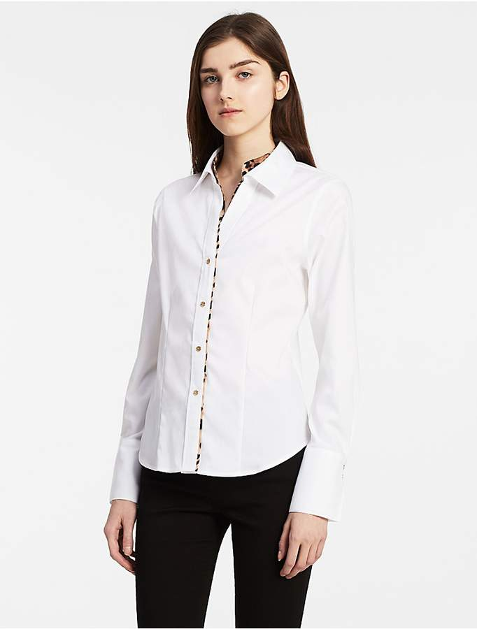 Calvin Klein Oxford Leopard Trim Top