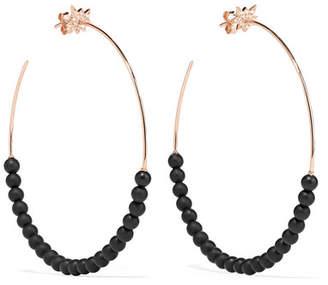 Diane Kordas Explosion 18-karat Rose Gold, Onyx And Diamond Hoop Earrings - Royal blue