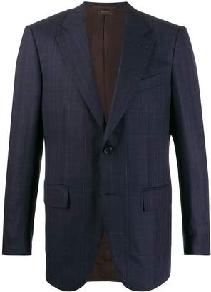 micro-check print suit jacket