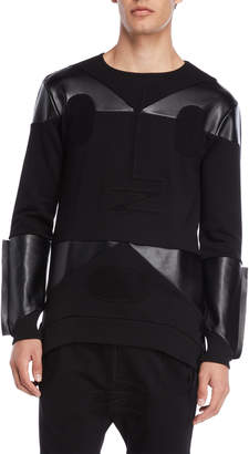 Kolonko Faux Leather & Terry Loop Sweatshirt