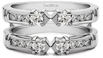 TwoBirch 10k Solid Gold Brilliant Moissanite Embellished Three Stone Ring Guard Enhancer (0.71ctw)