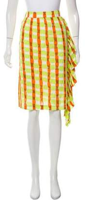 Tsumori Chisato Ruffle-Accented Plaid Skirt w/ Tags