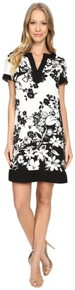 Adrianna Papell Split-Neck Printed Shift Dress $140 thestylecure.com