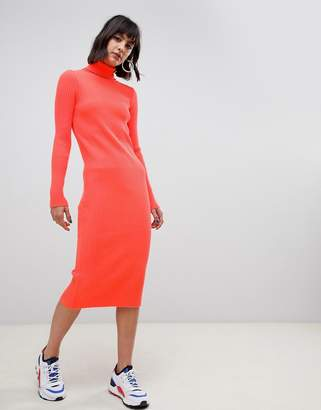 Asos DESIGN neon high neck rib midi dress
