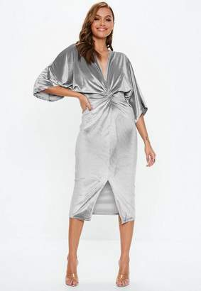 Missguided Gray Velvet Plunge Twist Front Midi Dress
