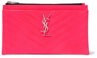 Saint Laurent Monogramme Neon Quilted Textured-leather Pouch - Pink