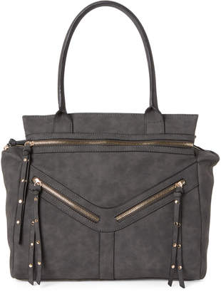 Violet Ray Grey Faux Leather Tote