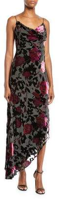 Aidan Mattox Cowl-Neck Burnout Floral Velvet Dress