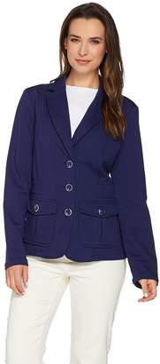 Isaac Mizrahi Live! Knit Utility Jacket with Patch Pockets