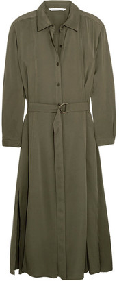 Diane von Furstenberg - Clarise Silk-blend Shirt Dress - Army green $500 thestylecure.com