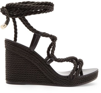 Jimmy Choo Allis 95 Espadrille Wedge Sandals - Womens - Black