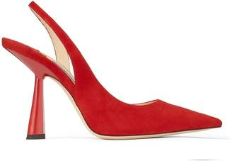 Jimmy Choo FETTO 100 Red Suede Pointed Toe pumps